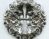 1 Fabulous Floral Filigree - 39mm - Ox Sterling Silver Plated Brass