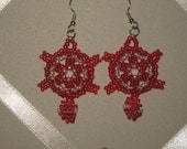 Turtle Earrings - Red with White