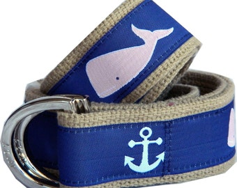 Signature Series: Pink Whales and White Anchors on Navy with Khaki Webbing D-Ring Belt