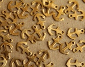 24 pc. Tiny Raw Brass Anchor Charms: 8mm by 6mm - made in USA | RB-171