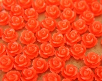 30 pc. Frosted Cherry Red Rose Cabochon 10mm | RES-039