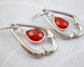 Red Onyx Silver Teardrop ...