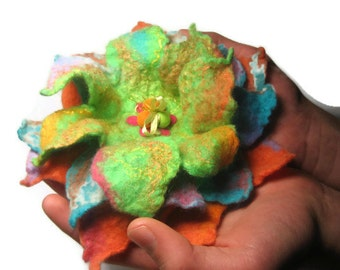 Neon Green Orange Blue Felted Flower Brooch, Felted Wool, Easter Valentine gift for her, women