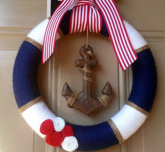 Nautical wreath yarn wreath anchor decor nautical baby for Anchor decoration