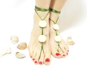Green beaded barefoot sandal, Anklet, green bangle, green beige barefoot sandal, wedding, yoga, lolita, wedding barefoot sandal, yoga, beac