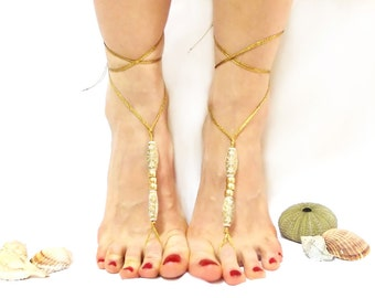 Barefoot sandal, Luxury, Barefoot sandles, Golden, golden yellow beaded, Lurex rope, Anklet, Golden barefoot sandal, wedding barefoot sandal