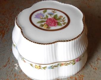 "Vintage Music Box, Heritage House, Porcelain, Flowers, Pink, ""Always"", Jewelry Box / Trinket Box"