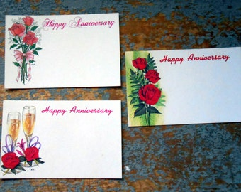 Vintage Florist Cards, Happy Anniversary, Roses, Florist Supplies, Insert, Name Cards, Champagne, Gift Tags, Unused