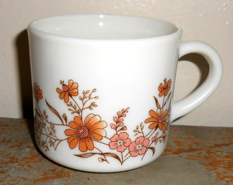 """Vintage Mugs, Cups,  Pyrex, """" Country Autumn"""" Floral, Brown, Pink, Pyrex Cups, Pyrex Mugs, Set Of Four, Made in England"""
