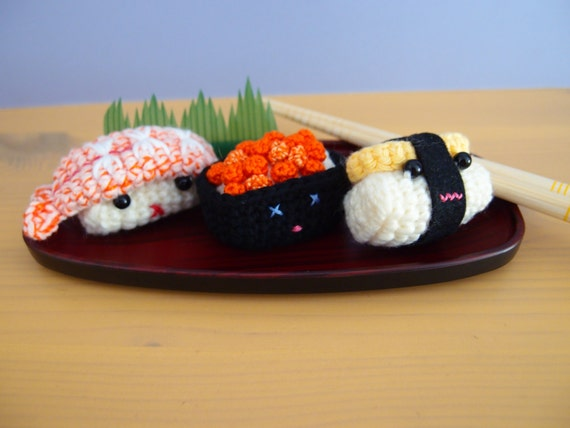 Crochet Sushi Set On a Plate