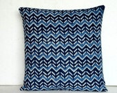 Pillow cover in Indigo Batik  - Chevron Block Print in Blue cushion cover 16x16 Chevron Print throw Pillow