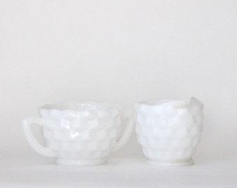 Milk Glass Cream & Sugar