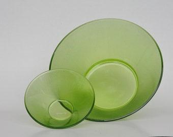 Vintage Green Glass Chip and Dip Bowl Set