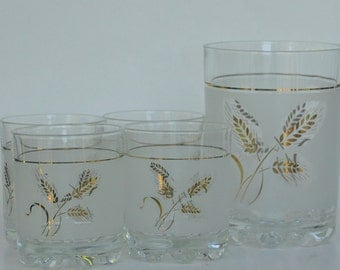 Retro Frosted Glass Ice Bucket with Four Matching Rock Glasses