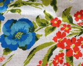 "Vintage Vera Inspired 60s Floral Tablecloth - 72 x 50"" Oval Brand New Never Used - ElkHugsVintage"