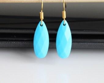 Turquoise blue earrings, teardrop gold earrings, simple everyday jewelry