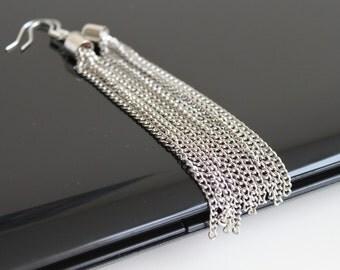Long chain earrings, silver long earrings, cascade earrings, simple everyday jewelry