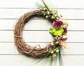 "Apple Bird Style Grapevine Wreath 24"""