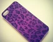 iPhone 5 Purple and Black Faux Fur Leopard Cheetah case