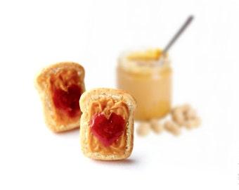 FREE SHIPPING - Peanut Butter Jelly Sandwich Stud Earrings -  Earrings Post - Food Jewelry