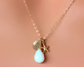 Starfish Necklace, Gold Initial ,Gold Starfish Charm,Opal or Birthstone , Beach Wedding Jewelry, Bridesmaid Necklace, Bridal Necklace