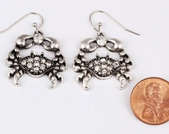 Clear Crystal Crab Dangle Earrings on Sterling Silver Ear Wires - 0650