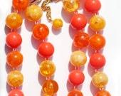 1960s Hippie Bead Necklace Orange Yellow Vintage Jewelry Vibrant  Color Orange Yellow Hippie Mod Collectible Jewelry