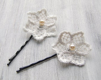 White Lace Flowers Bobby Pins Bridal Hair Pins, Bridal Hair Clip, Flower Hair Clips, Wedding Hair Accessory bohemian hair barrette set of 2