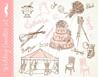 Wedding Digital clip art for wedding invites, scrapbooking, marriage, bridal, shower, Personal and Small Commercial Use