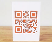 Happy Birthday QR Code Greeting Card in Orange or Blue