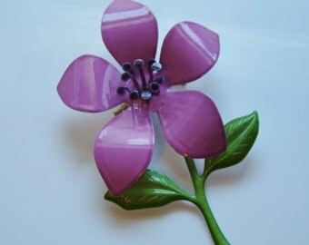 Purple Flower Brooch - Large Painted Enamel - Perfect for Bridal Bouquet