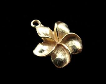SALE Plumeria Flower Charms 1 pc Gold Vermeil Charm 17mm  CH210