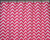 Hot Candy Pink White Chevron Zig Zag Curtains - Rod Pocket - 84 96 108 or 120 Long by 25 or 50 Wide - Optional Blackout or Cotton Lining
