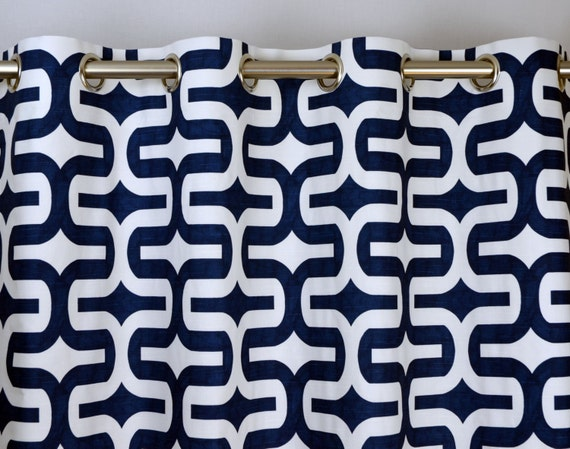 Navy Blue White Modern Geometric Embrace Contemporary Curtains
