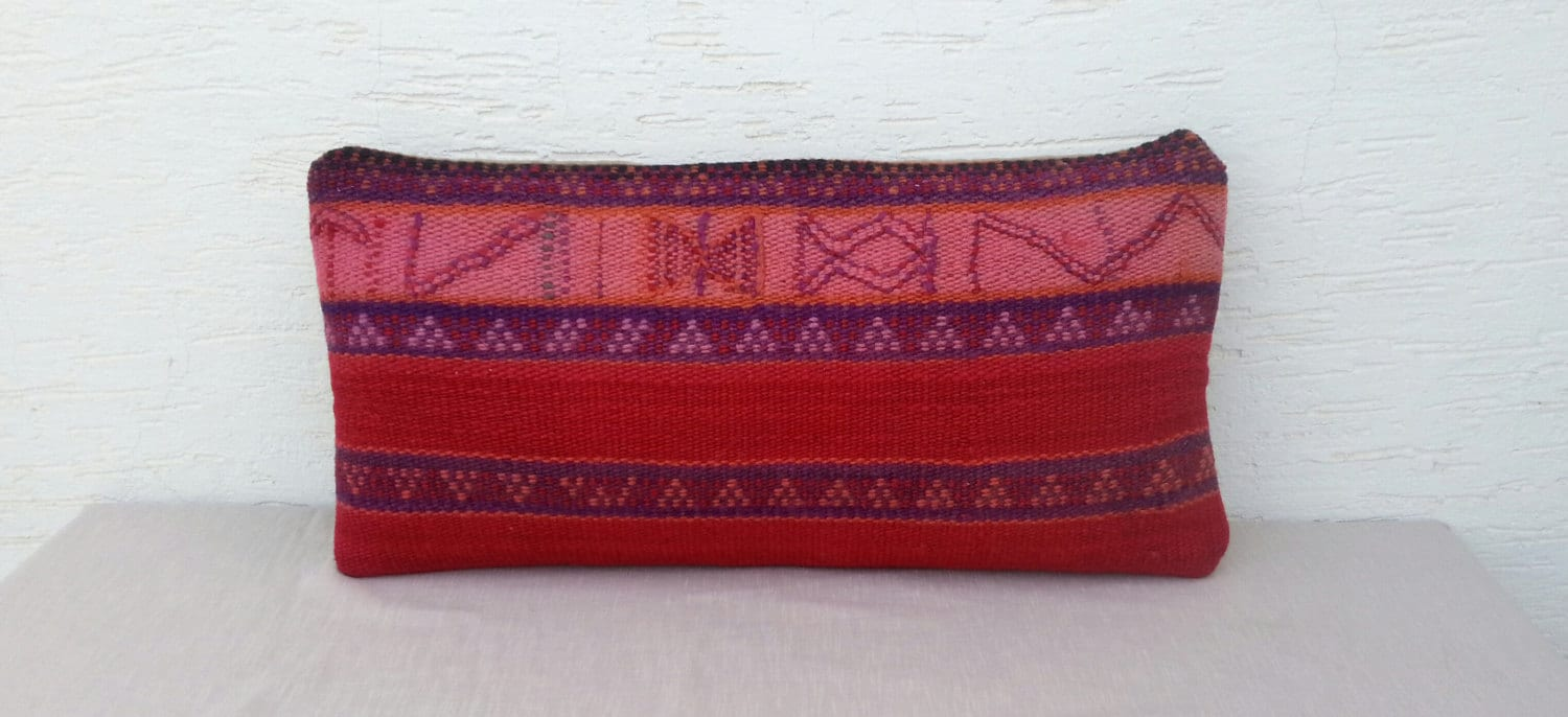 Long Decorative Lumbar Pillow : DECORATIVE Lumbar Pillow Cover-Long Bolster Kilim by pillowsstore