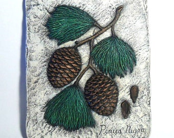 ceramic pine cone stepping stone 8 inches hand painted decorative stepping stone for garden - Decorative Stepping Stones