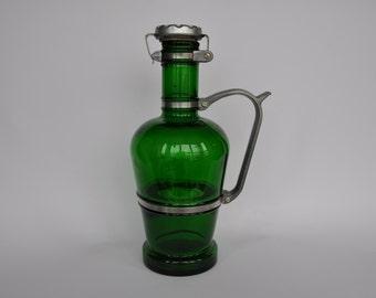 SALE Vintage German green glass beer jug with metal handle. Heavy duty metal lid. Beer growler.