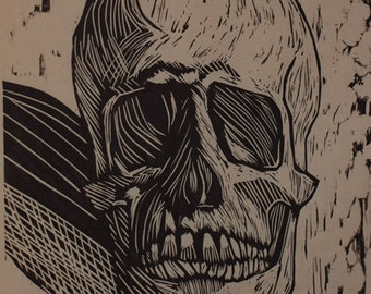 Hand-Pulled Woodcut Skull no. 11
