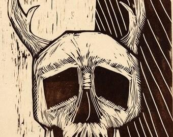 Hand-Pulled Sepia Woodcut print Skull no. 12