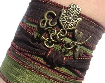 Hamsa Buddha Om Silk Wrap Bracelet Jewelry Namaste Evil Eye Yoga Arm Band Anklet Necklace Green Burgundy Fall Unique Gift Under 50 Item Y132