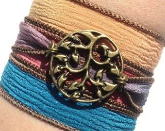 Bohemian, Silk Wrap Bracelet, Yoga Jewelry, Tree of Life, Earthy, Colorful, Hippie, Etsy, Gift For Her, Bohemian Earth Designs,  Item Y155