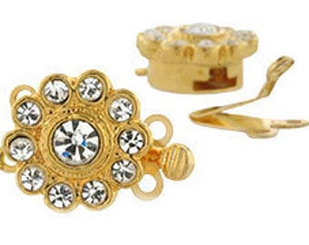 Gold Plated Crystal Flower Double Strand Clasp (sku 3380 - CL-FLWR2-10-G)