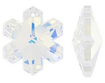 Swarovski 6704 Frozen Snowflake Pendant, Prism, Suncatcher 30mm Crystal AB (sku 244 -  6704-30-CR-AB)