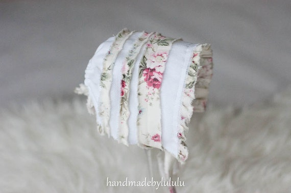 Items Similar To Baby Bonnet Simply From White And With Flowers Pattern Cotton Fabric
