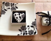 """Beautiful plate 10"""" by 10"""" Black Flowers on Cream"""