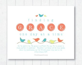 Finding Grace Scripture Print with 2 Corinthians 12:9 and Birdies