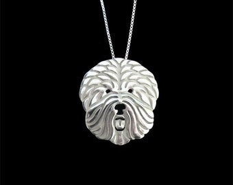 Old English Sheepdog jewelry - sterling silver pendant and necklace.
