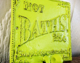 BOLD vibrant lime green bathroom towel hook // vintage inspired // cottage chic // wall hook // cast iron decor // shabby CHIC