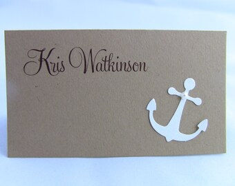 10 Wedding Place Cards / Escort Cards, Anchor & Pearl on Kraft, Rustic, Showers, Customize Any Color, Guest Information Printed