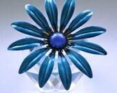 Vintage Big FLOWER POWER Bright Blue Enamel 1960s Brooch Pin